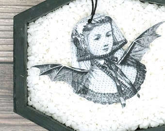 Woman Bat Costume Ornament Vintage Illustration Ornament Gothic Victorian Horror Ornament Christmas Halloween Gift