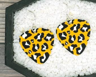 Yellow Leopard Print Earrings Guitar Pick Earrings Rockabilly Psychobilly Punk Rock Earrings Fun Gift