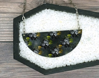 Black Roses and Yellow Flowers Necklace Statement Nature Necklace Bridesmaid Gift Wedding Gift Durable Wearable Art
