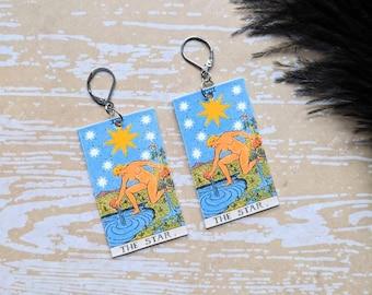 The Star Tarot Card Earrings Witch Earrings Horror Earrings Creepy Earrings Gothic Earrings Halloween Earrings Wearable Art