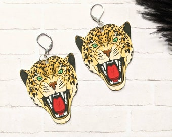 Leopard Cat Face Earrings Statement Loud Feline Nature Wild Fierce Strong Powerful Fun Gift