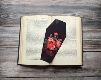 Red Floral Flowers Bouquet Coffin Bookmark Goth Gothic Halloween Horror Creepy Oddities