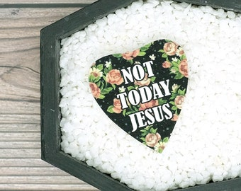 Not Today Jesus Pin Brooch Badge Planchette Ouija Satanist Satanism Atheist Atheism Anti-Jesus Spooky Brooch Durable Wearable Art