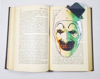 Art The Clown Terrifier Inspired Bookmark Goth Gothic Halloween Horror Creepy Oddities