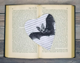 Bat and Stripes Planchette Bookmark Goth Gothic Halloween Horror Creepy Oddities