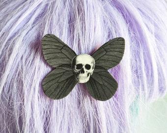 Skull Moth Hair Clip Horror Goth Gothic Halloween Hair Clip Durable Wearable Art