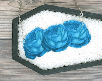 Blue Necklace Roses Necklace Floral Necklace Statement Necklace Bridesmaid Gift Wedding Gift Durable Wearable Art