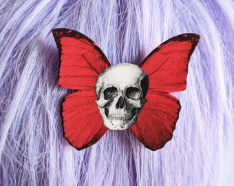 Skull Moth Wings Hair Clip Horror Goth Gothic Halloween Hair Clip Durable Wearable Art