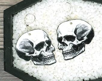 Skull Earrings Anatomy Earrings Gothic Goth Horror Spooky Creepy Earrings Durable Wearable Art