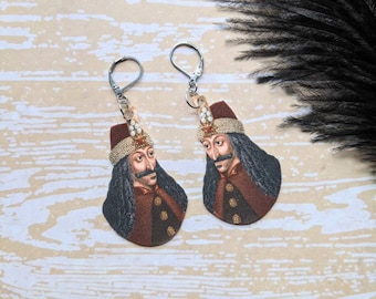 Vlad The Impaler Earrings Vampire Goth Gothic Scary Odd Creepy Halloween Horror Earrings Fun Gift