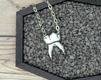 Tooth Necklace Molar Necklace Creepy Necklace Statement Necklace Odd Necklace Pendant Jewelry Durable Wearable Art