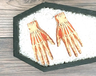 Skinned Hands Esrrings Severed Hands Exposed Tendons Earrings Creepy Medical Oddities Earrings Durable Wearable Art