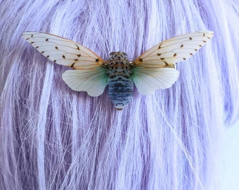 White Ghost Cicada Hair Clip Barrette Milky White Cicada Moth Butterfly Nature Bridesmaid Gift Wedding Gift Wearable Art Shrink Plastic