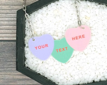 Custom Candy Conversations Heart Necklace Your Text Here Spooky Gothic Horror Valentine Valentine's Necklace Durable Wearable Art