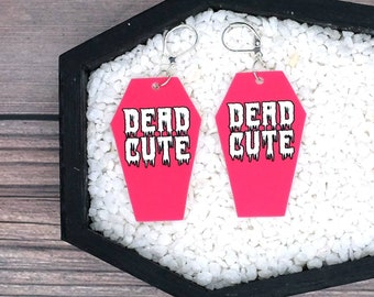 Dead Cute Pink Coffin Earrings Pastel Goth Gothic Creepy Odd Halloween Horror Durable Wearable Art