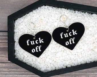 Fuck Off Heart Earrings Valentine Love Dark Goth Gothic Creepy Odd Halloween Horror Durable Wearable Art