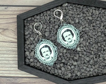 Edgar Allan Poe EAP Ornate Frame Earrings Gothic Earrings Horror Earrings Creepy Earrings Nevermore Earrings Gothic Gift Wearable Art