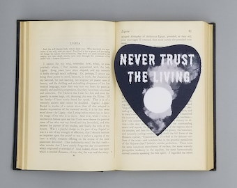 Never Trust The Living Planchette Beetlejuice Inspired Bookmark Goth Gothic Halloween Horror Creepy Oddities