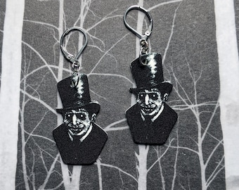 Vintage Creepy Man Monster Ghost Phantom Earrings Goth Gothic Scary Odd Creepy Halloween Horror Earrings Fun Gift
