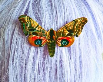 Vintage Colorful Moth Hair Clip Horror Goth Gothic Halloween Hair Clip Durable Wearable Art