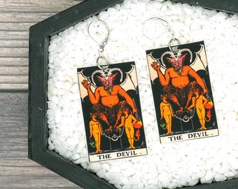 The Devil Satan Tarot Card Earrings Witch Earrings Horror Earrings Creepy Earrings Gothic Earrings Halloween Earrings Wearable Art