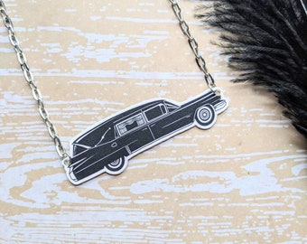 Hearse Necklace Vintage Retro Funeral Car Meat Wagon Death Cab Morbid Horror Halloween Goth Gothic Witch Durable Wearable Art Unique Gift