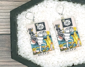 Death Tarot Card Earrings Witch Earrings Horror Earrings Creepy Earrings Gothic Earrings Halloween Earrings Wearable Art
