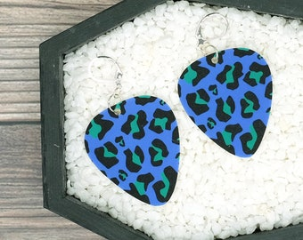 Blue Green Leopard Print Earrings Guitar Pick Earrings Rockabilly Psychobilly Punk Rock Earrings Fun Gift
