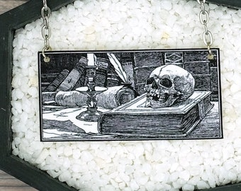 Vintage Literary Library Skull Candle Books Necklace Goth Gothic Creepy Dark Art Horror Halloween