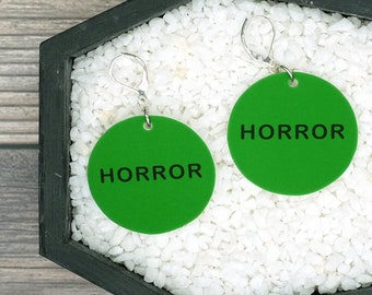 Horror VHS Tape Label Earrings Halloween Earrings Goth Gothic Creepy Earrings Durable Wearable Art