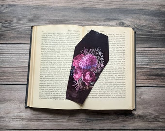 Purple Pink Floral Flowers Bouquet Coffin Bookmark Goth Gothic Halloween Horror Creepy Oddities