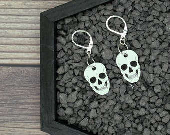 White Skull Earrings Horror Earrings Creepy Earrings Gothic Earrings Gift Durable Wearable Art