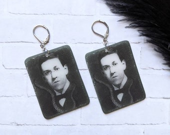 H.P. HP Lovecraft Earrings Cthulhu Goth Gothic Sci-fi Science Fiction Scary Odd Creepy Halloween Horror Earrings Fun Gift Shrink Plastic