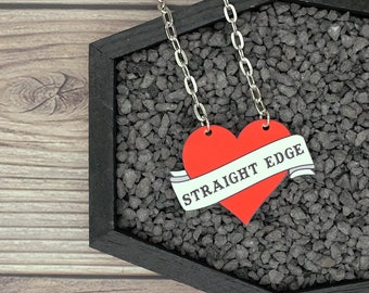 Straight Edge Necklace Heart Tattoo Rockabilly Psychobilly Drug Free Necklace Durable Wearable Art