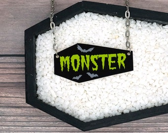 Monster Coffin Bats Necklace Horror Goth Gothic Halloween Odd Creepy Durable Wearable Art
