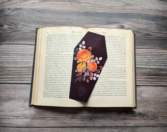 Orange Floral Flowers Bouquet Coffin Bookmark Goth Gothic Halloween Horror Creepy Oddities