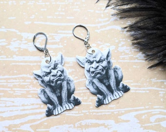Gargoyle Earrings Monster Statue Gothic Goth Horror Spooky Creepy Earrings Durable Wearable Art