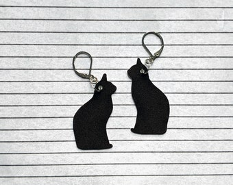 Black Cat Silhouette Familiar Earrings Goth Gothic Scary Odd Creepy Halloween Horror Earrings Fun Gift