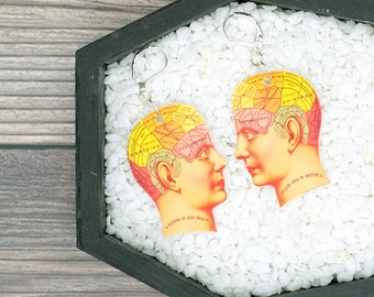 Phrenology Earrings Head Brain Medical Anatomy Science Scientific Earrings