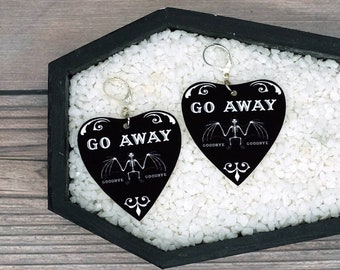 Go Away Planchette Bat Skeleton Earrings Horror Creepy Gothic Halloween Odd Gift Durable Wearable Art