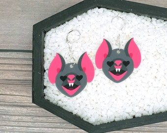 Bat Face Heart Eyes Earrings Valentine Love Dark Goth Gothic Creepy Odd Halloween Horror Durable Wearable Art