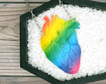 LGBTQ Rainbow Heart Anatomical Heart Necklace Halloween Horror Spooky Spoopy Queer Gay Goth Creepy Necklace Durable Wearable Art