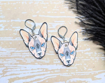 Sphinx Cat Earrings Sphynx Hairless Cat Cat Lover Gift Durable Wearable Art