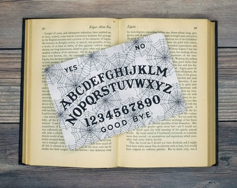 Spiderweb Ouija Board Spirit Board Bookmark Goth Gothic Halloween Horror Creepy Oddities