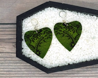 Green Lace Heart Planchette Earrings Victorian Goth Gothic Creepy Odd Halloween Horror Durable Wearable Art