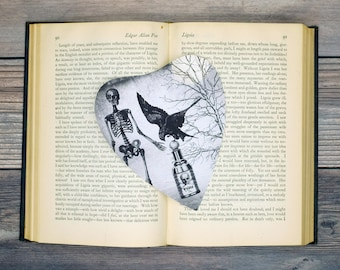 Skeleton Crow Raven Poison Bottle Planchette Bookmark Goth Gothic Halloween Horror Creepy Oddities