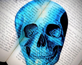 Blue Skull Clear Bookmark Skeleton Goth Gothic Halloween Horror Creepy Spooky Anatomy Oddities