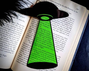 UFO Clear Bookmark Alien Abduction Abduct Goth Gothic Halloween Horror Creepy Oddities