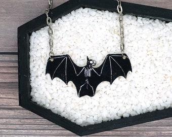 Bat Skeleton Necklace Horror Goth Gothic Halloween Odd Creepy Durable Wearable Art