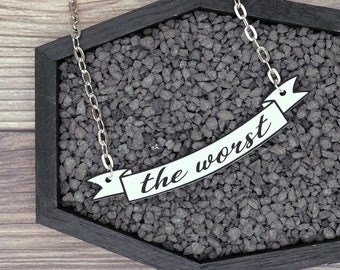 The Worst Banner Necklace Halloween Creepy Goth Gothic Odd Dark Necklace Durable Wearable Art